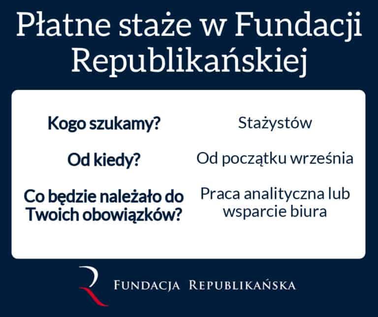 Płatne staże w Fundacji Republikańskiej